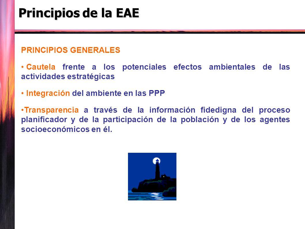 Principios de la EAE PRINCIPIOS GENERALES Cautela frente a los potenciales efectos ambientales de las actividades estratégicas Integración del ambiente en las PPP Transparencia a través de la información fidedigna del proceso planificador y de la participación de la población y de los agentes socioeconómicos en él.