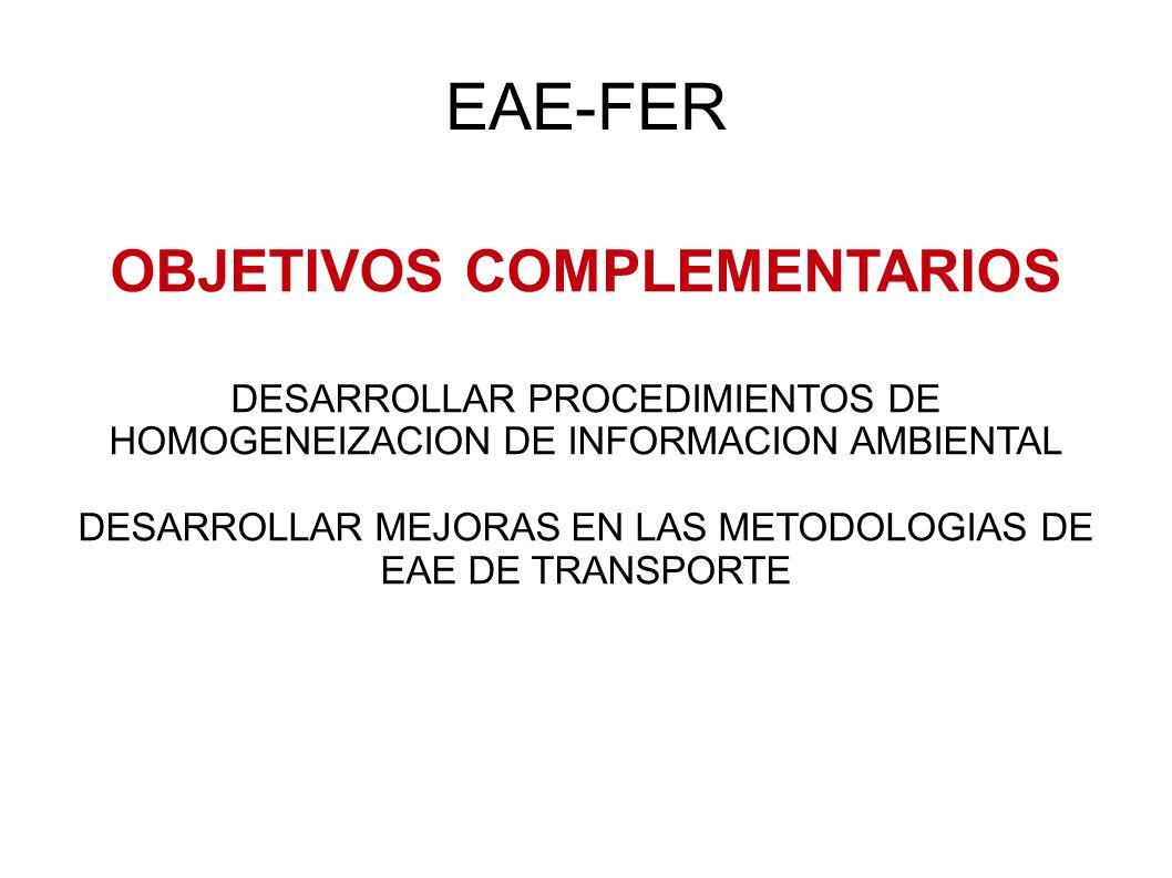 EAE-FER OBJETIVOS COMPLEMENTARIOS DESARROLLAR PROCEDIMIENTOS DE HOMOGENEIZACION DE INFORMACION AMBIENTAL DESARROLLAR MEJORAS EN LAS METODOLOGIAS DE EAE DE TRANSPORTE