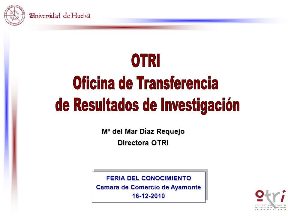 Mª del Mar Díaz Requejo Directora OTRI FERIA DEL CONOCIMIENTO Camara de Comercio de Ayamonte 16-12-2010 FERIA DEL CONOCIMIENTO Camara de Comercio de A