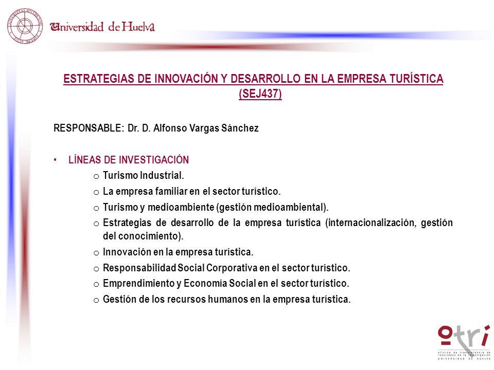 ESTRATEGIAS DE INNOVACIÓN Y DESARROLLO EN LA EMPRESA TURÍSTICA (SEJ437) RESPONSABLE: Dr. D. Alfonso Vargas Sánchez LÍNEAS DE INVESTIGACIÓN o Turismo I
