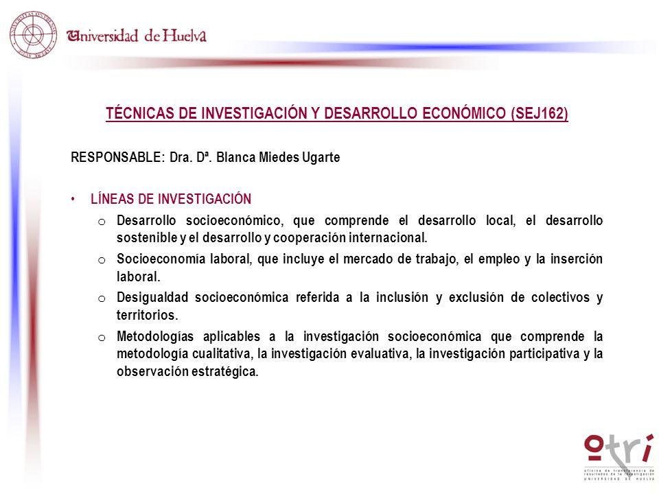 TÉCNICAS DE INVESTIGACIÓN Y DESARROLLO ECONÓMICO (SEJ162) RESPONSABLE: Dra. Dª. Blanca Miedes Ugarte LÍNEAS DE INVESTIGACIÓN o Desarrollo socioeconómi