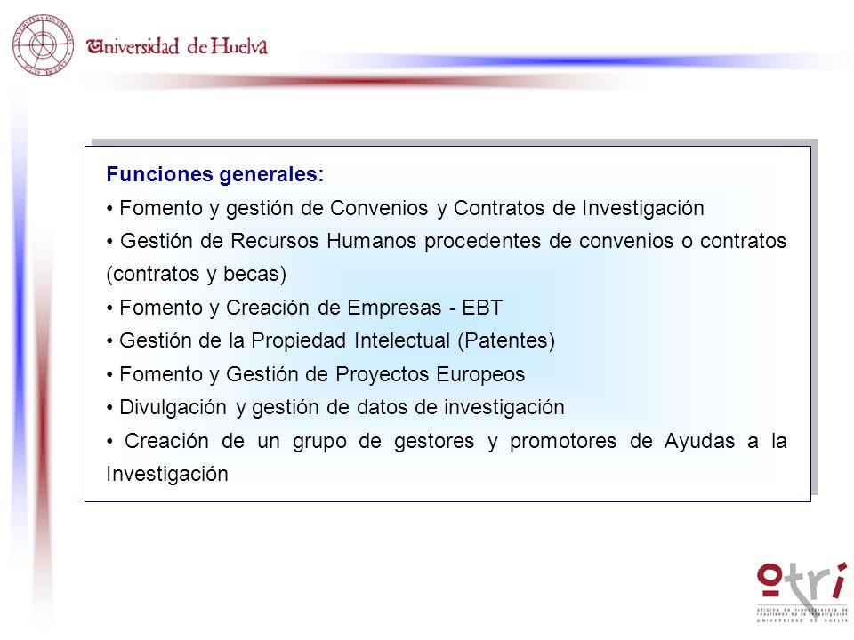 Funciones generales: Fomento y gestión de Convenios y Contratos de Investigación Gestión de Recursos Humanos procedentes de convenios o contratos (con