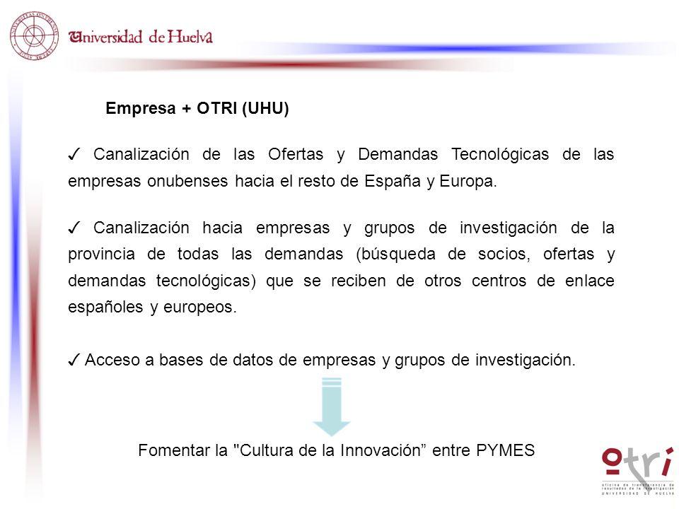 Empresa + OTRI (UHU) Canalización de las Ofertas y Demandas Tecnológicas de las empresas onubenses hacia el resto de España y Europa. Canalización hac