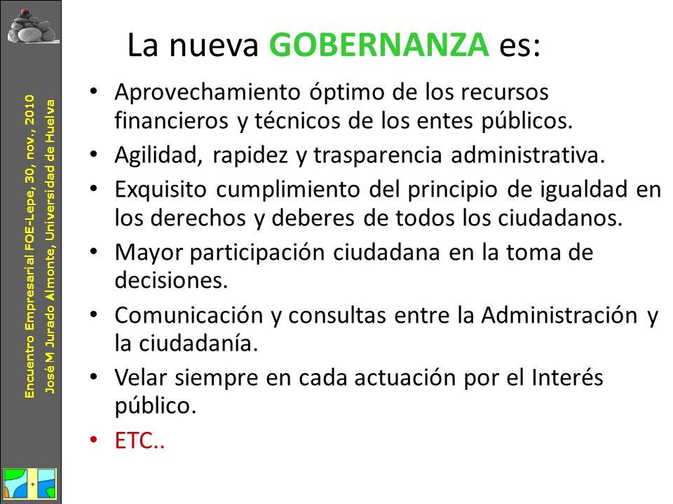 La nueva GOBERNANZA es: Aprovechamiento óptimo de los recursos financieros y técnicos de los entes públicos. Agilidad, rapidez y trasparencia administ