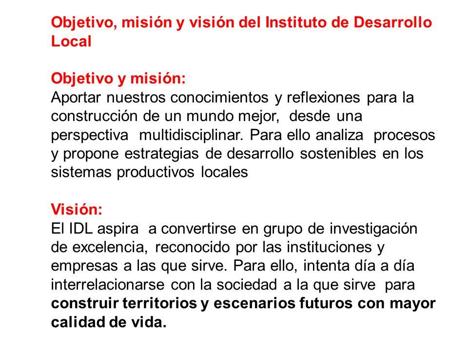Objetivo, misión y visión del Instituto de Desarrollo Local Objetivo y misión: Aportar nuestros conocimientos y reflexiones para la construcción de un