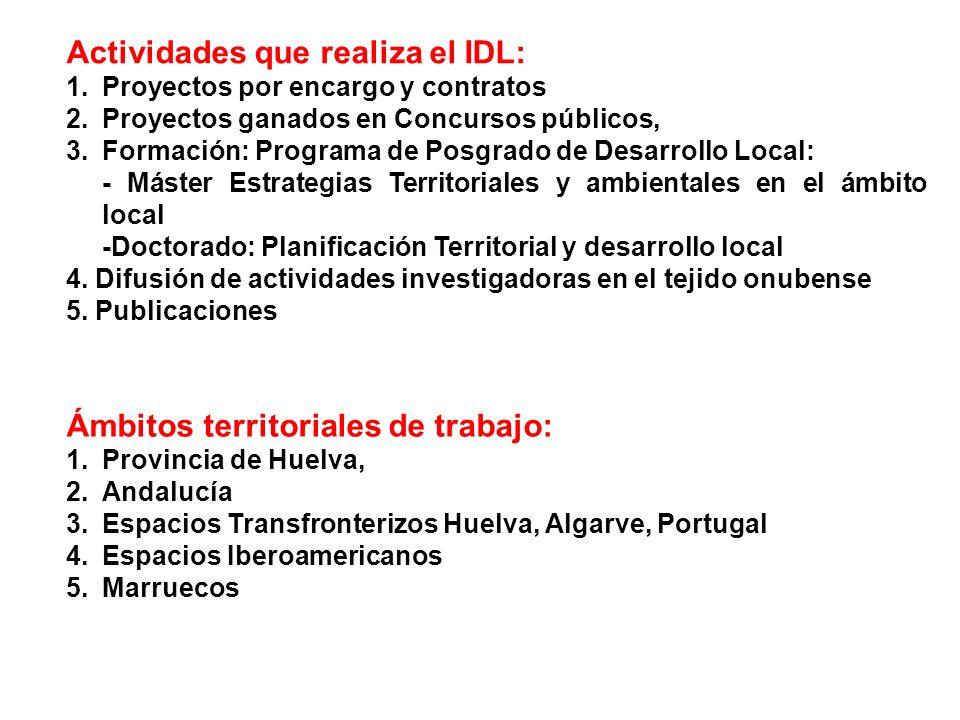 Actividades que realiza el IDL: 1.Proyectos por encargo y contratos 2.Proyectos ganados en Concursos públicos, 3.Formación: Programa de Posgrado de De