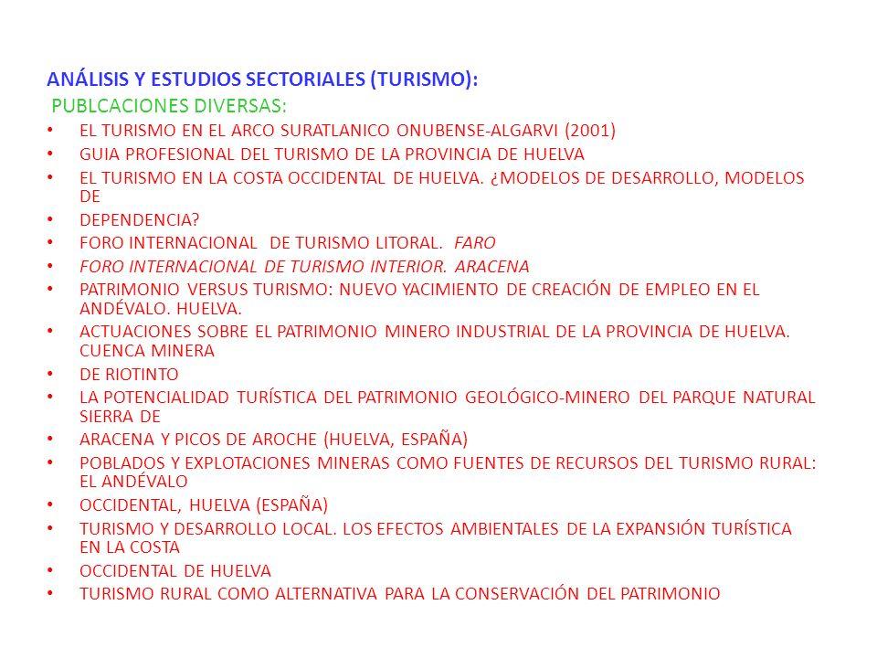 ANÁLISIS Y ESTUDIOS SECTORIALES (OTROS TEMAS): PUBLICACIONES DIVERSAS y Proyectos Plan Estratégico para el Desarrollo de las Empresas Vinculadas a la Agricultura Posibilidades de tráfico de Fresas y cítricos por el puerto de Huelva Posibilidades de tráfico de la roca ornamental del Suroeste Peninsular por el puerto de Huelva Mejora territorial para la industria química básica Un aeropuerto para la provincia de Huelva Las cooperativas de consumo en Andalucía Contratación en origen en España.