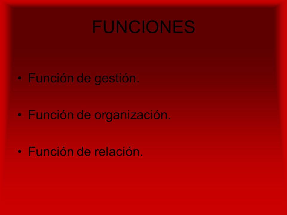 FUNCIONES Función de gestión. Función de organización. Función de relación.