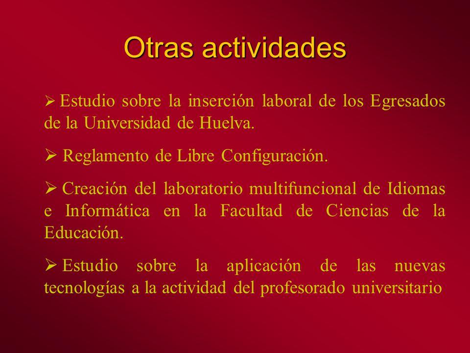 Otras actividades Estudio sobre la inserción laboral de los Egresados de la Universidad de Huelva.