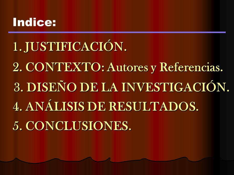 1.JUSTIFICACIÓN. Indice: 2. CONTEXTO: Autores y Referencias.