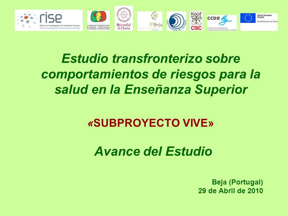 Estudio transfronterizo sobre comportamientos de riesgos para la salud en la Enseñanza Superior «SUBPROYECTO VIVE» Beja (Portugal) 29 de Abril de 2010 Avance del Estudio