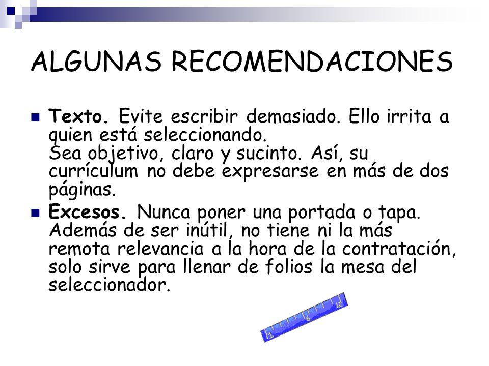 ALGUNAS RECOMENDACIONES Salario.