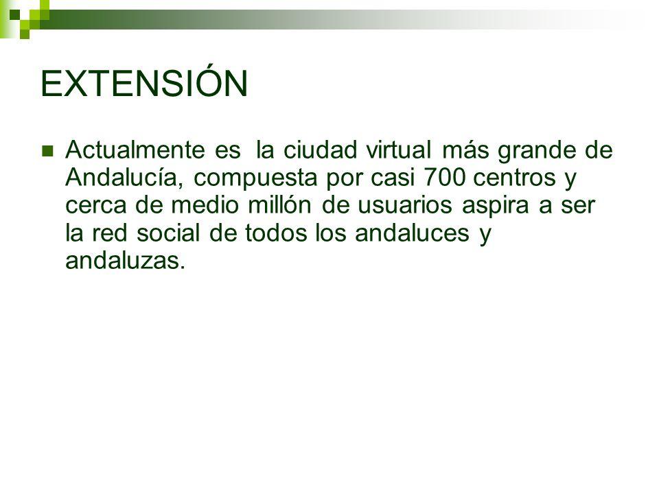 EXTENSIÓN Actualmente es la ciudad virtual más grande de Andalucía, compuesta por casi 700 centros y cerca de medio millón de usuarios aspira a ser la