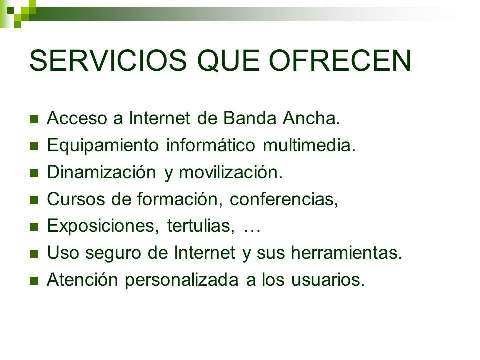 SERVICIOS QUE OFRECEN Acceso a Internet de Banda Ancha. Equipamiento informático multimedia. Dinamización y movilización. Cursos de formación, confere