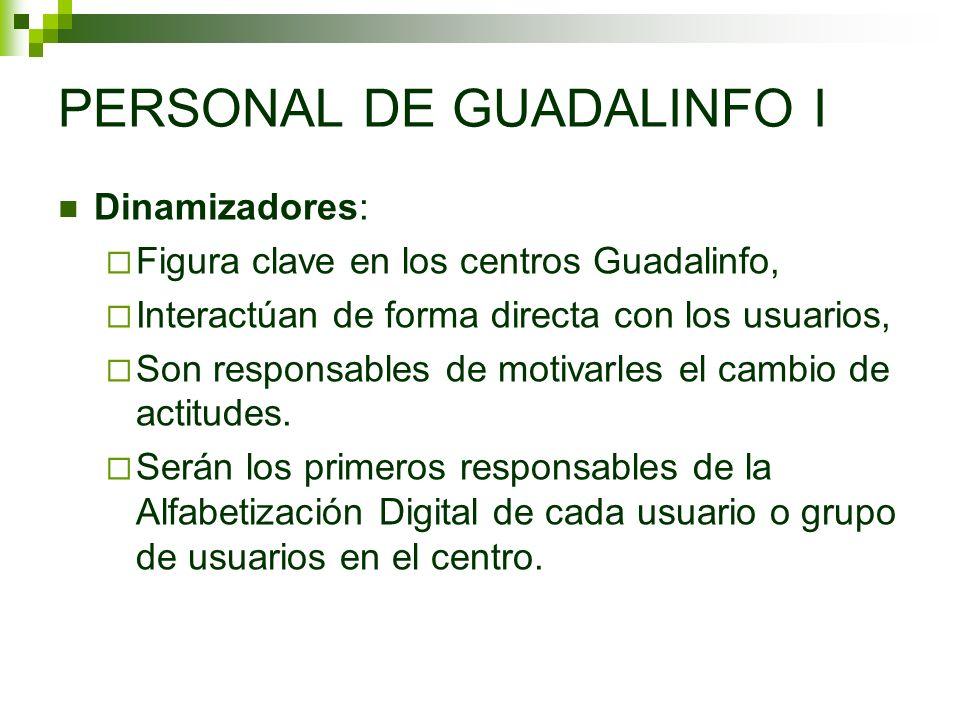 PERSONAL DE GUADALINFO I Dinamizadores: Figura clave en los centros Guadalinfo, Interactúan de forma directa con los usuarios, Son responsables de mot
