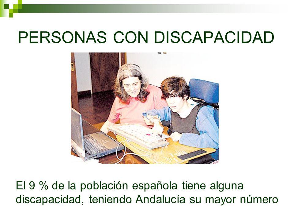PERSONAS CON DISCAPACIDAD El 9 % de la población española tiene alguna discapacidad, teniendo Andalucía su mayor número