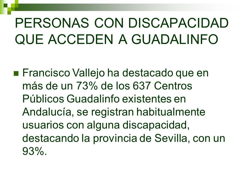 PERSONAS CON DISCAPACIDAD QUE ACCEDEN A GUADALINFO Francisco Vallejo ha destacado que en más de un 73% de los 637 Centros Públicos Guadalinfo existentes en Andalucía, se registran habitualmente usuarios con alguna discapacidad, destacando la provincia de Sevilla, con un 93%.