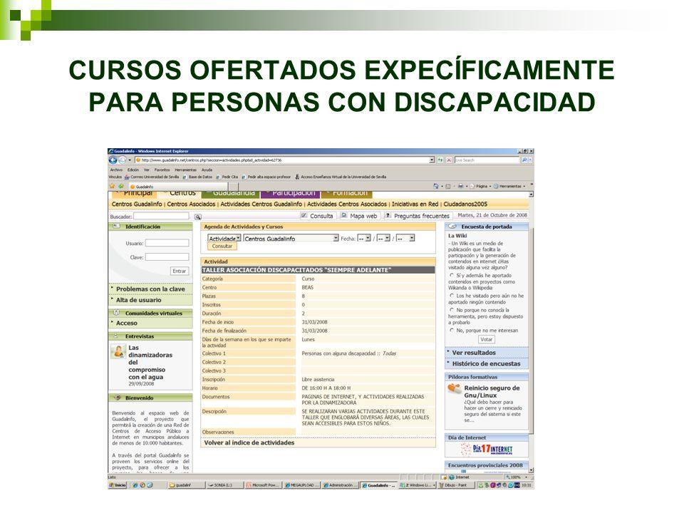 CURSOS OFERTADOS EXPECÍFICAMENTE PARA PERSONAS CON DISCAPACIDAD