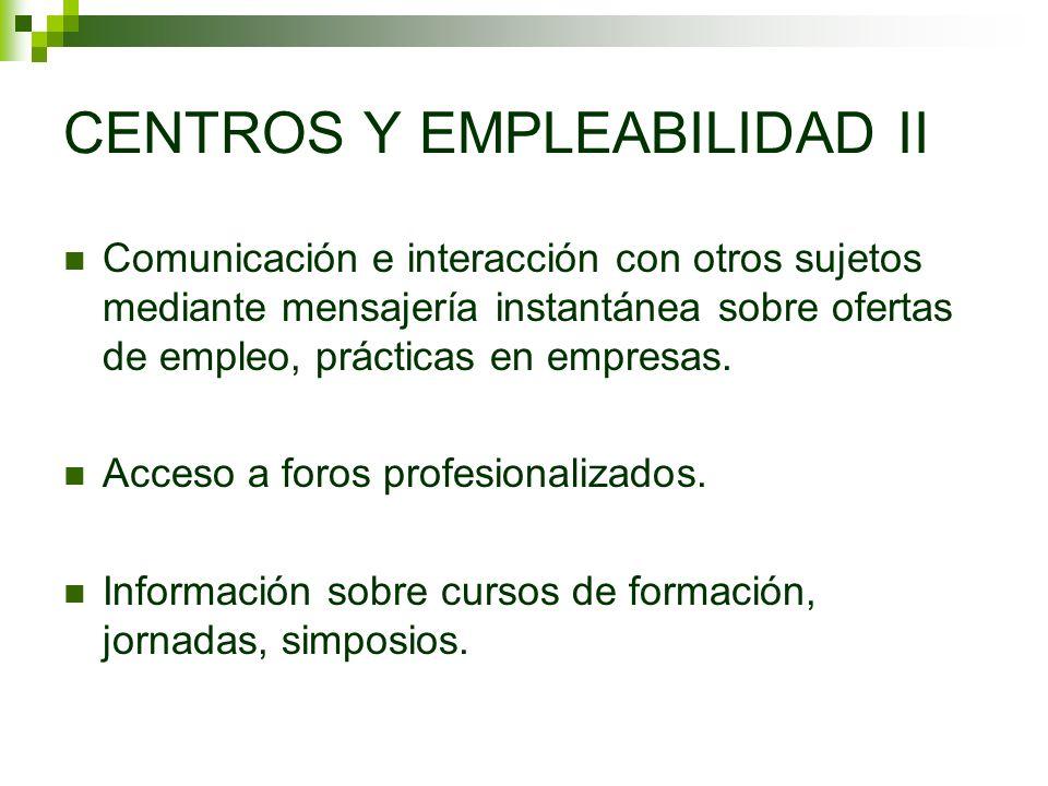 CENTROS Y EMPLEABILIDAD II Comunicación e interacción con otros sujetos mediante mensajería instantánea sobre ofertas de empleo, prácticas en empresas