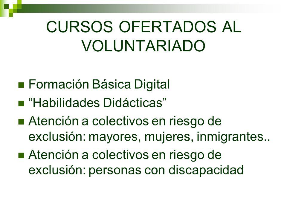 CURSOS OFERTADOS AL VOLUNTARIADO Formación Básica Digital Habilidades Didácticas Atención a colectivos en riesgo de exclusión: mayores, mujeres, inmigrantes..