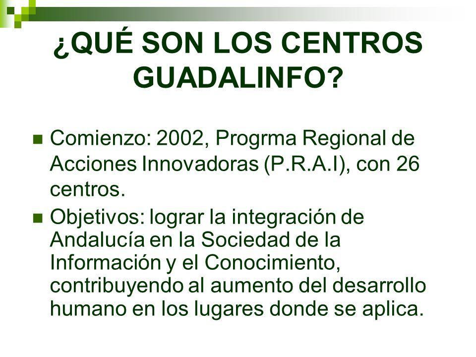 ¿QUÉ SON LOS CENTROS GUADALINFO? Comienzo: 2002, Progrma Regional de Acciones Innovadoras (P.R.A.I), con 26 centros. Objetivos: lograr la integración