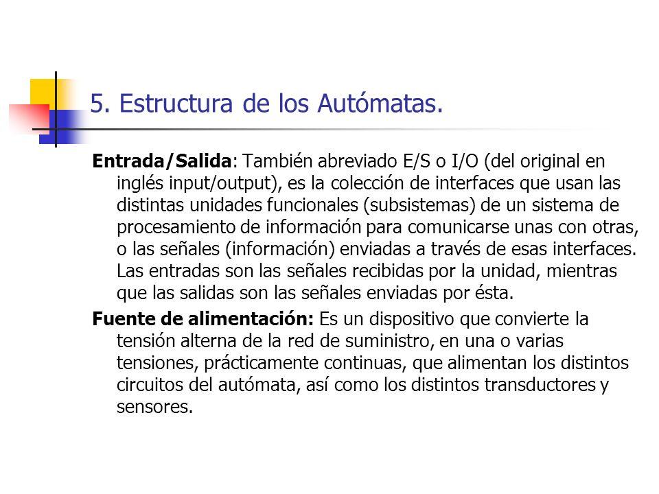 5. Estructura de los Autómatas. Entrada/Salida: También abreviado E/S o I/O (del original en inglés input/output), es la colección de interfaces que u