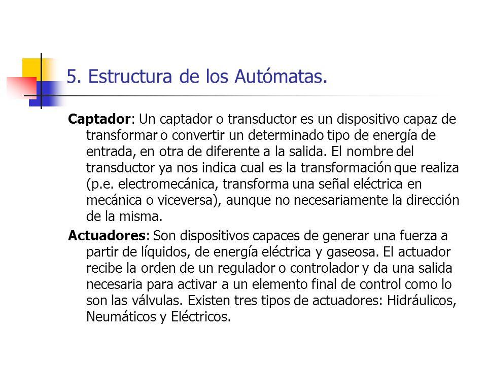 5. Estructura de los Autómatas. Captador: Un captador o transductor es un dispositivo capaz de transformar o convertir un determinado tipo de energía