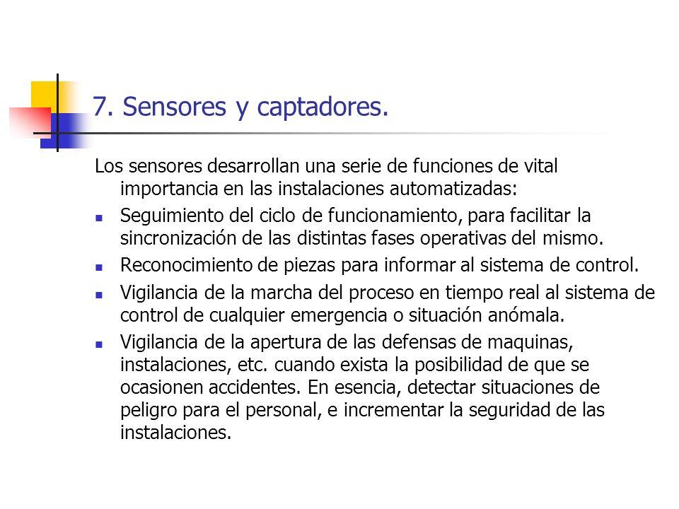 7. Sensores y captadores. Los sensores desarrollan una serie de funciones de vital importancia en las instalaciones automatizadas: Seguimiento del cic