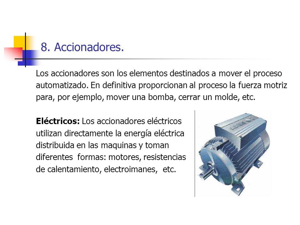 8. Accionadores. Los accionadores son los elementos destinados a mover el proceso automatizado. En definitiva proporcionan al proceso la fuerza motriz