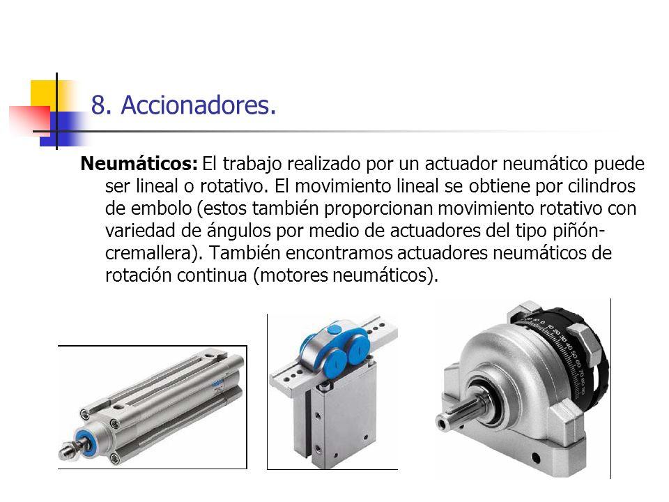 8. Accionadores. Neumáticos: El trabajo realizado por un actuador neumático puede ser lineal o rotativo. El movimiento lineal se obtiene por cilindros