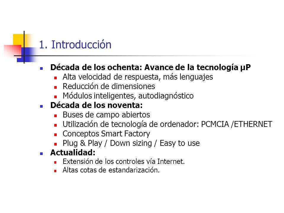 1. Introducción Década de los ochenta: Avance de la tecnología µP Alta velocidad de respuesta, más lenguajes Reducción de dimensiones Módulos intelige