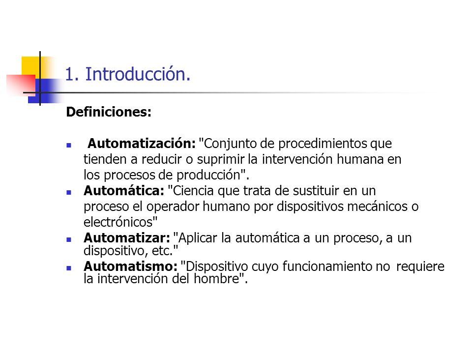 1. Introducción. Definiciones: Automatización: