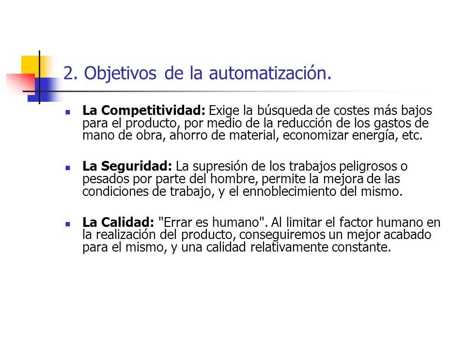 2. Objetivos de la automatización. La Competitividad: Exige la búsqueda de costes más bajos para el producto, por medio de la reducción de los gastos