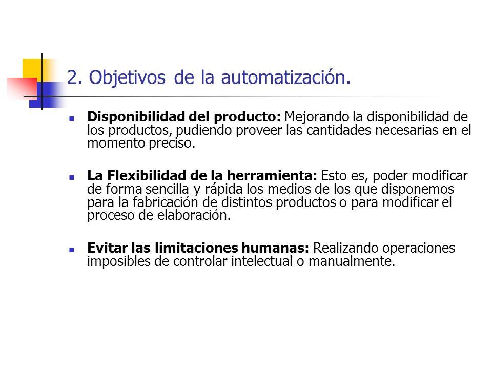 2. Objetivos de la automatización. Disponibilidad del producto: Mejorando la disponibilidad de los productos, pudiendo proveer las cantidades necesari