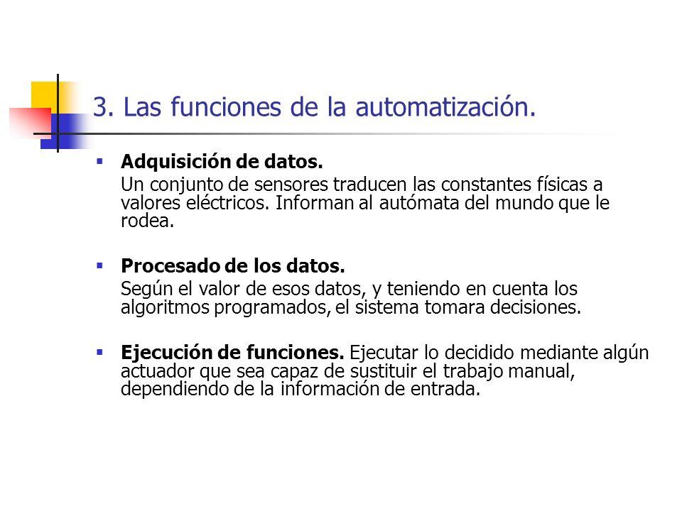 3. Las funciones de la automatización. Adquisición de datos. Un conjunto de sensores traducen las constantes físicas a valores eléctricos. Informan al