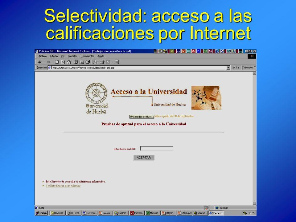 Selectividad: acceso a las calificaciones por Internet