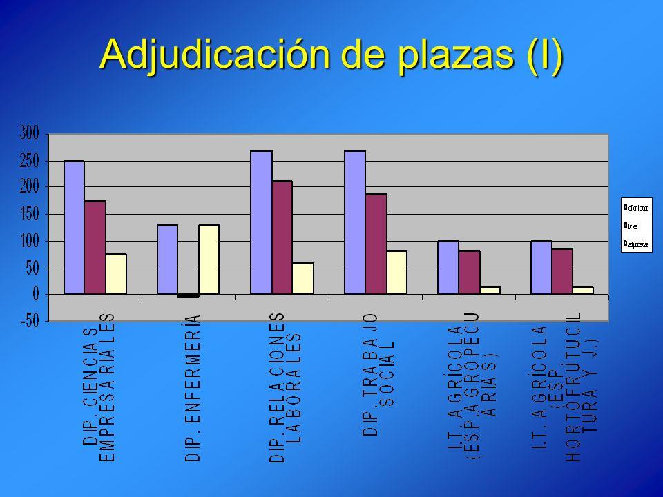 Adjudicación de plazas (I)