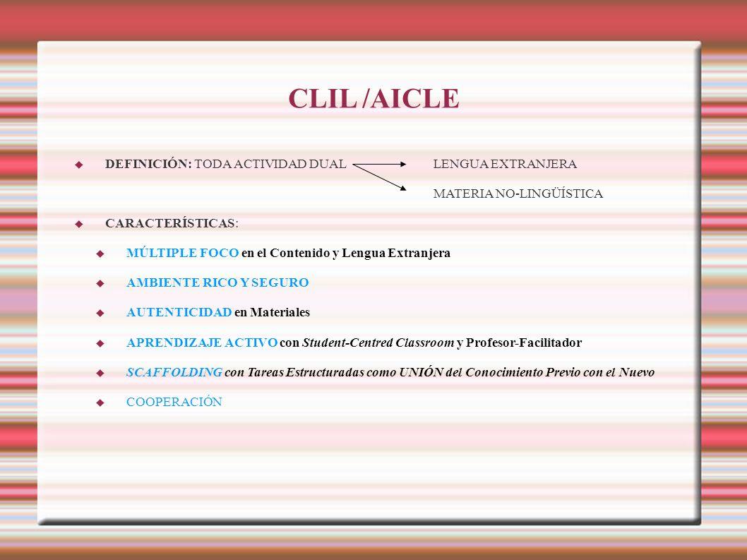 CLIL /AICLE DEFINICIÓN: TODA ACTIVIDAD DUALLENGUA EXTRANJERA MATERIA NO-LINGÜÍSTICA CARACTERÍSTICAS: MÚLTIPLE FOCO en el Contenido y Lengua Extranjera