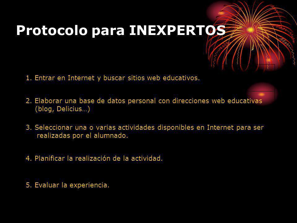Protocolo para INEXPERTOS 1. Entrar en Internet y buscar sitios web educativos.