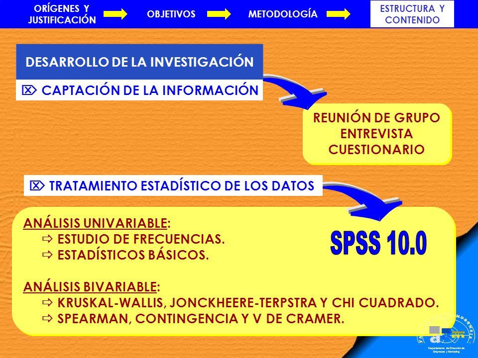 REUNIÓN DE GRUPO ENTREVISTA CUESTIONARIO REUNIÓN DE GRUPO ENTREVISTA CUESTIONARIO ANÁLISIS UNIVARIABLE: ESTUDIO DE FRECUENCIAS. ESTADÍSTICOS BÁSICOS.