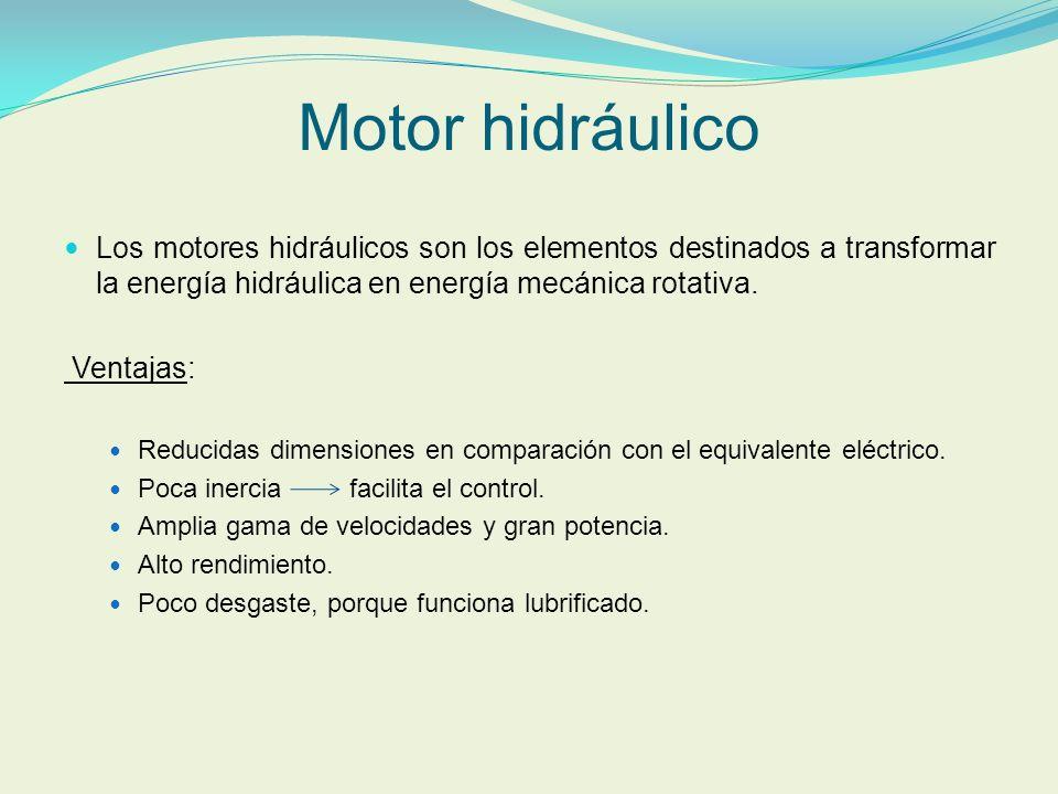 Motor hidráulico Los motores hidráulicos son los elementos destinados a transformar la energía hidráulica en energía mecánica rotativa. Ventajas: Redu