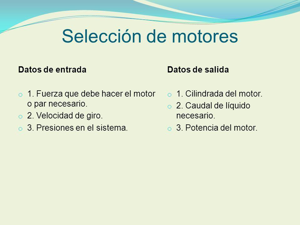 Selección de motores Datos de entrada o 1. Fuerza que debe hacer el motor o par necesario. o 2. Velocidad de giro. o 3. Presiones en el sistema. Datos