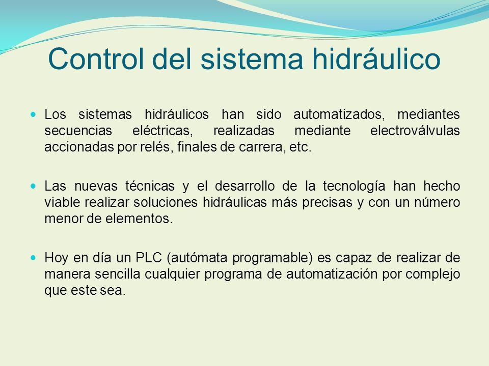 Control del sistema hidráulico Los sistemas hidráulicos han sido automatizados, mediantes secuencias eléctricas, realizadas mediante electroválvulas a