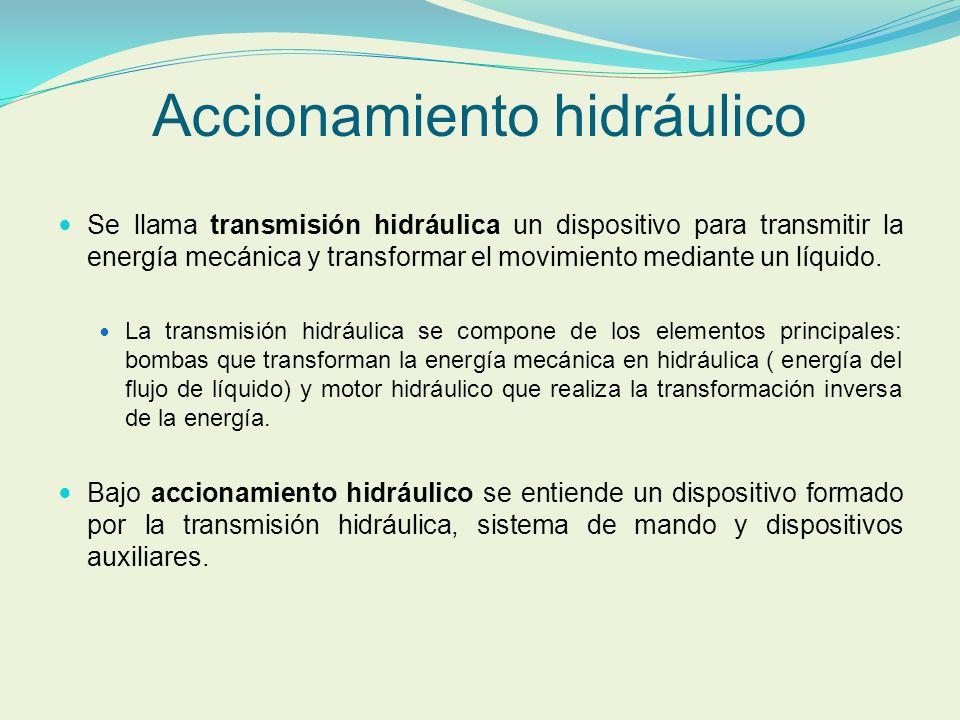 Accionamiento hidráulico Se llama transmisión hidráulica un dispositivo para transmitir la energía mecánica y transformar el movimiento mediante un lí