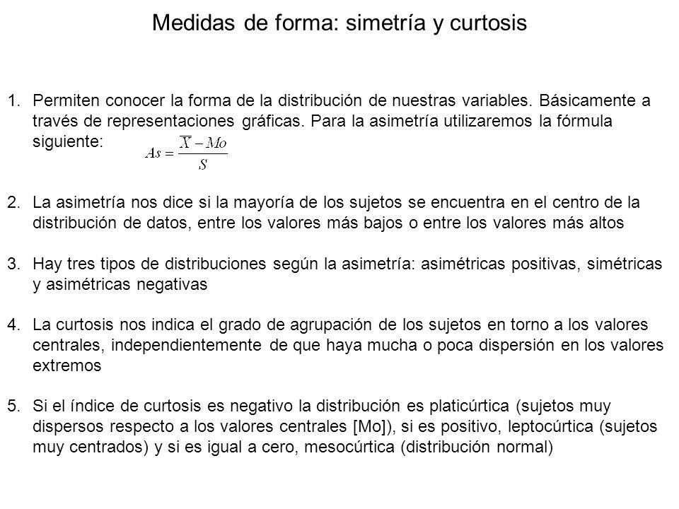 Medidas de forma: simetría y curtosis 1.Permiten conocer la forma de la distribución de nuestras variables. Básicamente a través de representaciones g