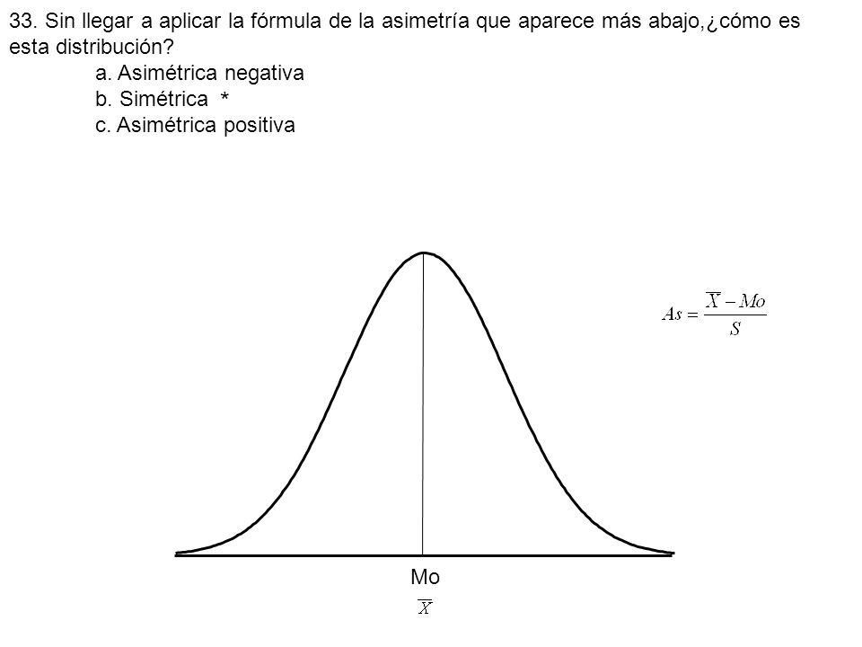 33. Sin llegar a aplicar la fórmula de la asimetría que aparece más abajo,¿cómo es esta distribución? a. Asimétrica negativa b. Simétrica c. Asimétric