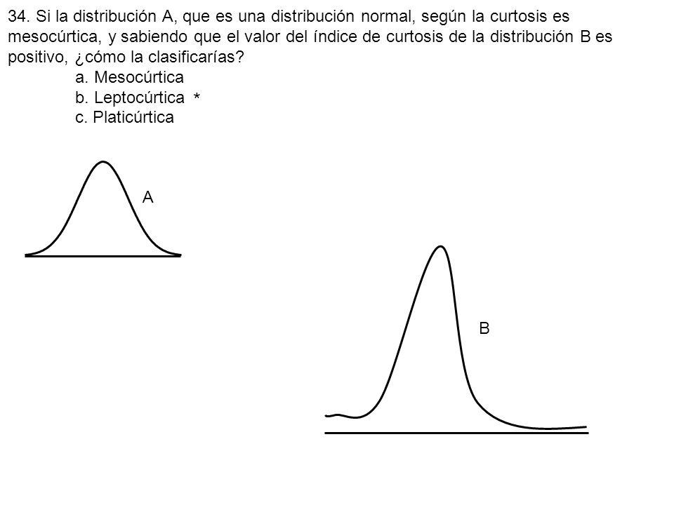 34. Si la distribución A, que es una distribución normal, según la curtosis es mesocúrtica, y sabiendo que el valor del índice de curtosis de la distr