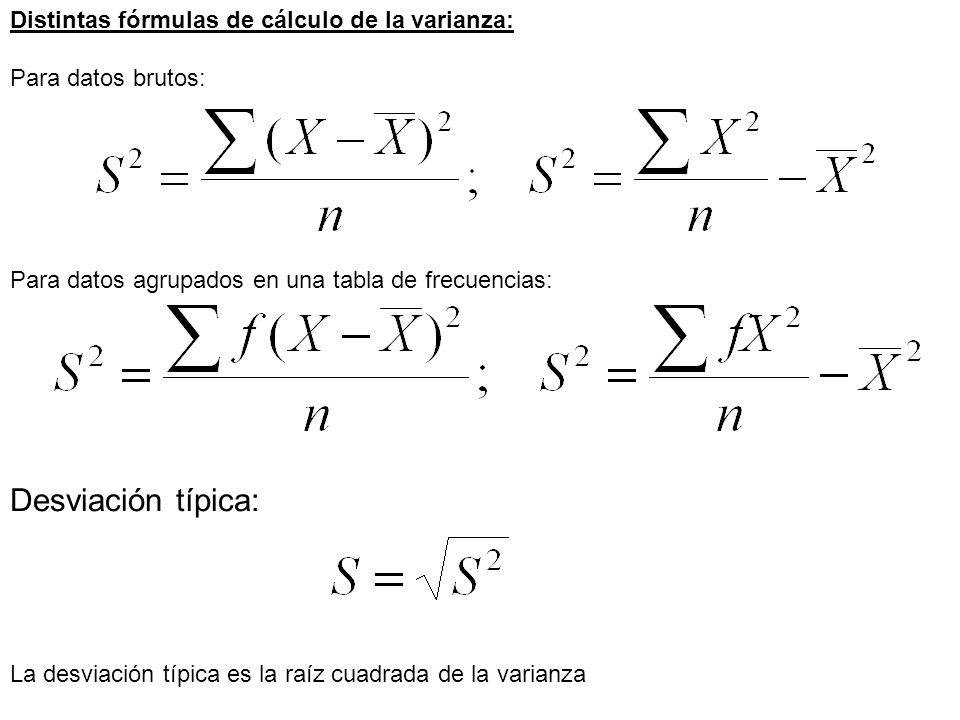 Distintas fórmulas de cálculo de la varianza: Para datos brutos: Para datos agrupados en una tabla de frecuencias: Desviación típica: La desviación tí