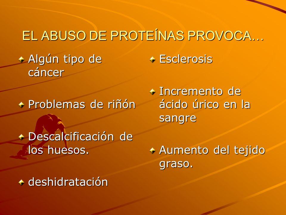 EL ABUSO DE PROTEÍNAS PROVOCA… Algún tipo de cáncer Problemas de riñón Descalcificación de los huesos. deshidrataciónEsclerosis Incremento de ácido úr