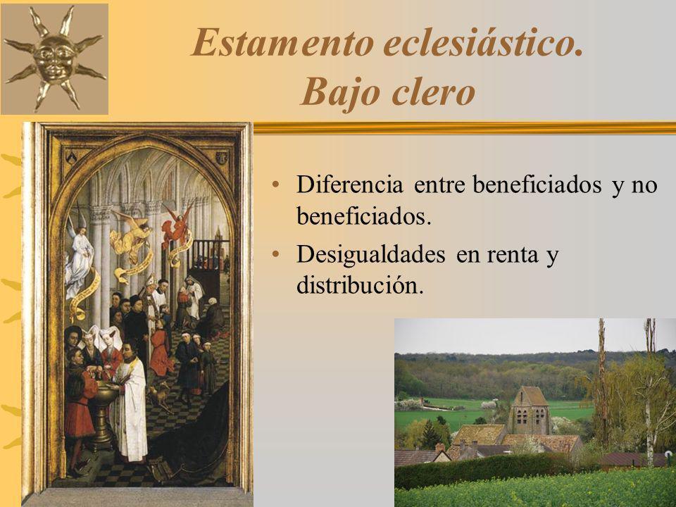 Estamento eclesiástico. Bajo clero Diferencia entre beneficiados y no beneficiados. Desigualdades en renta y distribución.